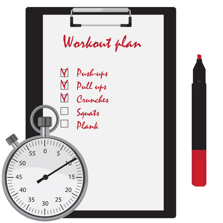 ups: Workout plan with checkboxes on clipboard, red marker pen and stopwatch counter. Push ups, pull ups, crunches, squats, plank Illustration