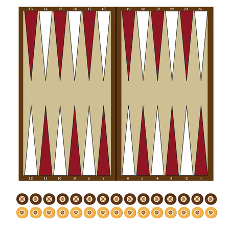 Backgammon wooden board and chips for game vector illustration. Board game