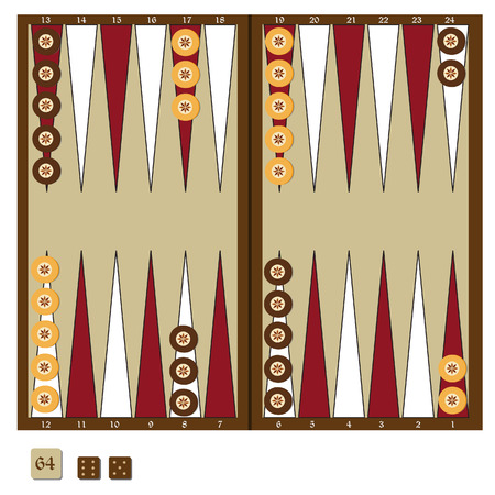 Backgammon wooden board, two dices and doubling cube, and chips for game vector illustration. Board game Illustration