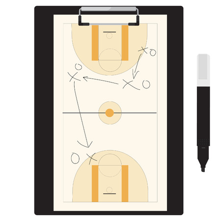 tactic: Vector illustration of basketball tactic plan on clipboard with marker pen. Basketball tactic board. Writing a basketball game strategy on a blackboard.