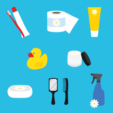 hygienic: Hygienic set of flat vector items. Bathroom accesories. Vector hygiene and cleaning products flat icons.Toilet paper, toothpaste and toothbrush, cream, soap, mirror and comb Illustration