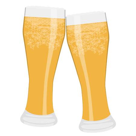 clink: Vector illustration of two glasses full of light beer cheers. Beer glasses clink. Toasting with beer Illustration