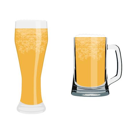 frosty: Vector illustration of frosty glass of beer. Full beer glass. Light beer. Glass of cold beer. Beer mug Illustration