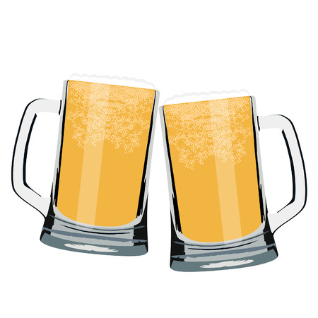 Vector illustration of two beer mug full of light beer cheers. Beer glasses clink. Toasting with beer