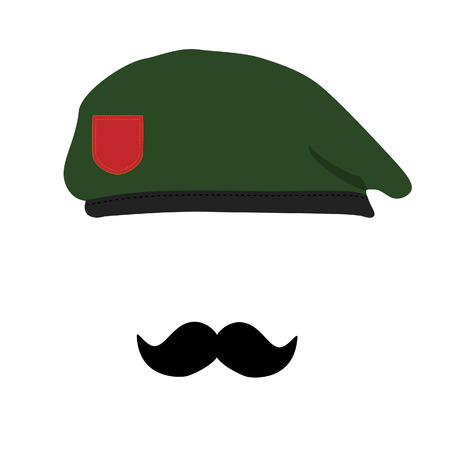 special forces: Vector illustration  green beret of Army Special Forces with empty emblem and black mustache. Revolutionary beret. Military beret with moustache