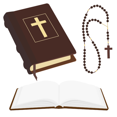 Vector illustration of brown opened and closed Holy Bible and rosary beads with cross.