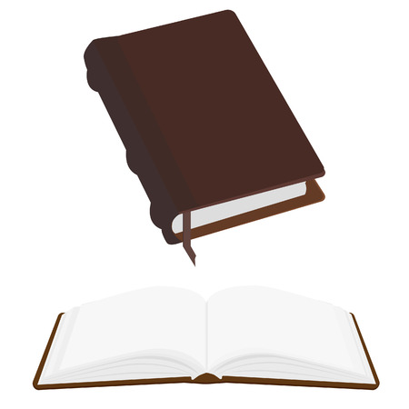 Brown old leather book empty with bookmark vector icon, literature, bible, law, organizer. Opened and closed book