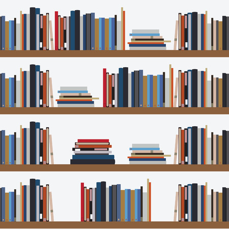 Seamless pattern book shelf with different books. Library background