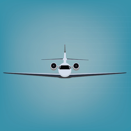 airlines: Vector illustration private business jet flying in the blue sky. Commercial flight and airlines