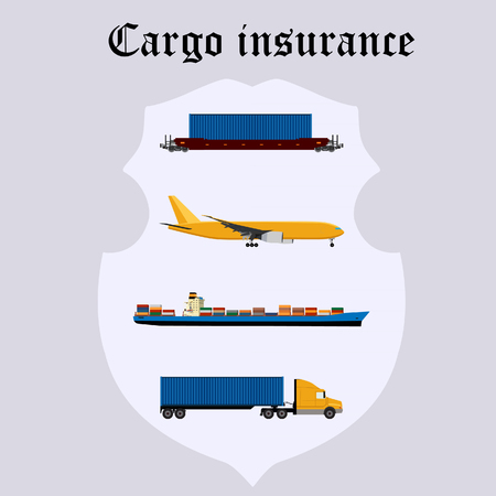 freight train: Vector illustration of cargo insurance. Airplane, freight train or rail, truck and cargo ship with containers in the shield. Cargo protection