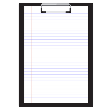 Vector illustration of black clipboard with white blank paper.  Clipboard icon. Lined paper. Notebook paper Vettoriali