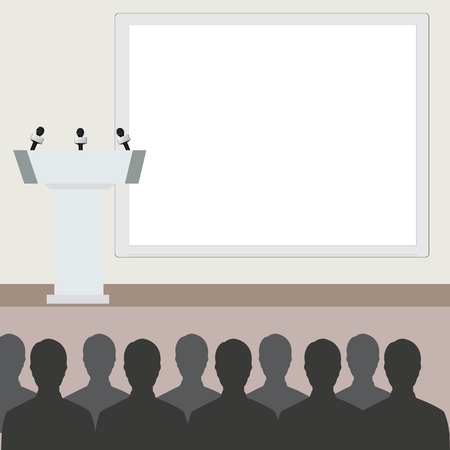conference room: Vector illustration of conference room. People at the conference hall. Business meeting template.