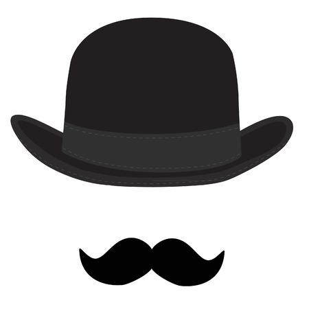 Vector illustration of black derby hat and mustache. Bowler hat. Black fashion gentleman hat