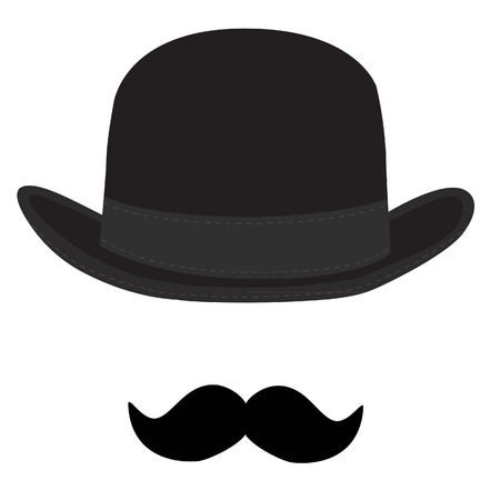 Vector illustration of black derby hat and mustache. Bowler hat. Black fashion gentleman hat Zdjęcie Seryjne - 45651605