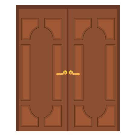 Vector illustration of old wooden double door. Closed door. Front door Illustration