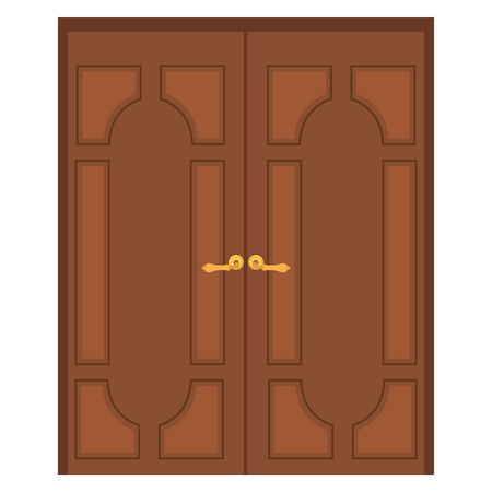 door handle: Vector illustration of old wooden double door. Closed door. Front door Illustration