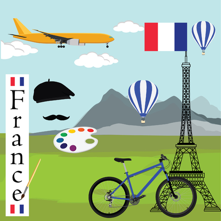paint palette: Vector illustration of france and paris travel concept. Eiffel tower with france flag, painter hat, paint palette with paint brush, bicycle, airplane and hot air balloons