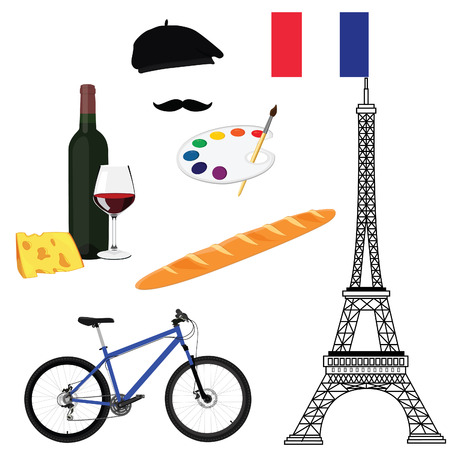 paint palette: France and Paris travel concept. Flat icons eiffel tower with france flag, painter hat, paint palette with paint brush, bicycle, wine and cheese