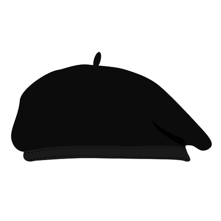 Vector illustration black silhouette of french beret. Painter hat. French hat. Vettoriali