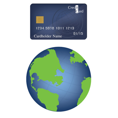 e money: Vector illustration of credit or debit card and world globe. Globe icon. E- commerce. Electronic money