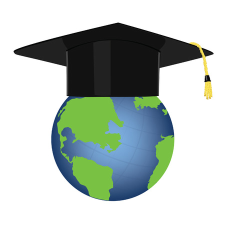 graduation hat: Online education e-learning icon globe with graduation hat vector illustration. Earth planet with graduation cap