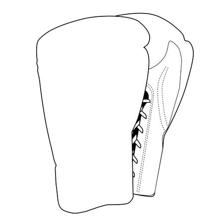 dessin au trait: Vector illustration de dessin contour des gants de boxe. �quipement de sport. Paire de deux gants de boxe