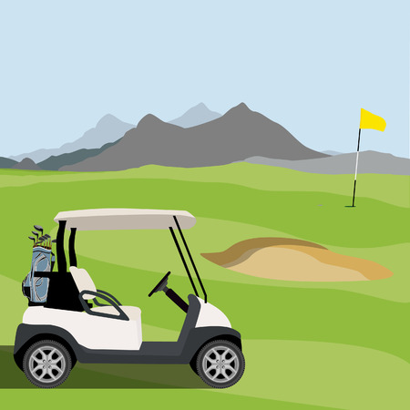 golf cart: Vector illustration of golf field, golf flag and golf cart with blue golf clubs bag. Mountain landscape or background. Golf course.