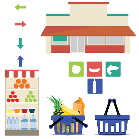 foodstuff: Vector supermarket icons. Full and empty shopping basket, grocery shelf, arrows and meat, fish, fruit and drink symbols. Grocery department