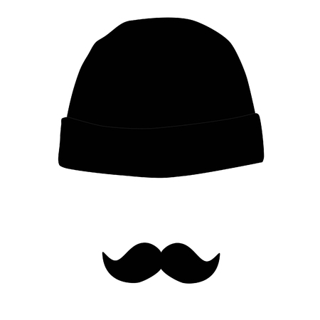 Vector illustration black winter hat and mustache. Comic person concept symbol