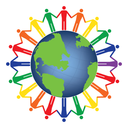 globe hand: Community of people joined around the globe. Conceptual social network with many people icon gather around globe vector design. Rainbow colors