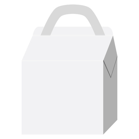 chinese fast food: White cardboard fast food box, packaging for lunch, Chinese Food. Lunch box Vectores