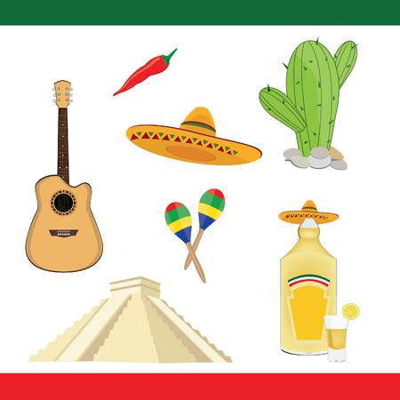 itza: Vector mexico icons. Collection of mexican symbols guitar chichen itza sombrero cactus pepper tequila maracas