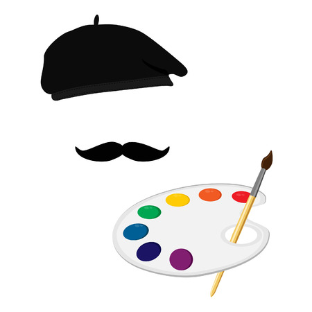 paint palette: Vector illustration of painter in painter hat with mustache and holding paint palette and paintbrush. Painter icon. Painting symbol