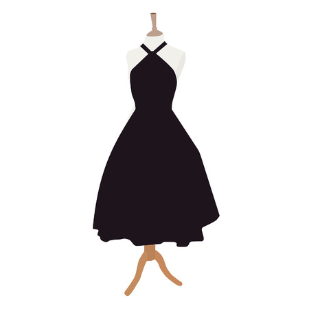 dresses: Black dress on mannequin raster illustration. Cocktail dress. Woman black dress icon. Little black dress