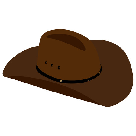 brown leather: Brown, leather cowboy hat raster isolated,  sheriff hat
