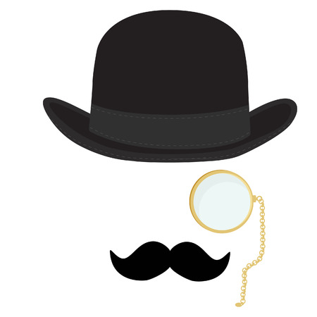 bowler hat: raster illustration of black derby hat, mustache and golden monocle with chain. Bowler hat. Black fashion gentleman hat. Gentleman concept