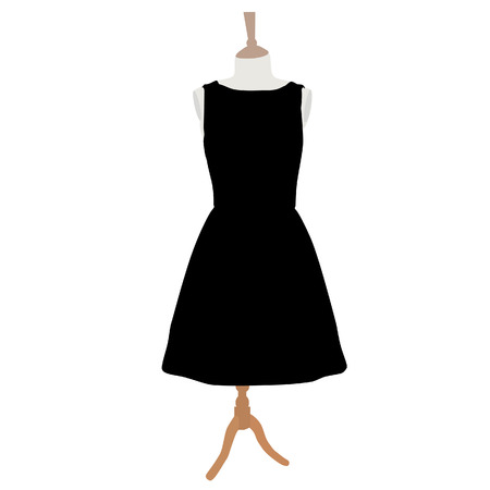 Little black cocktail woman dress on mannequin raster  isolated on white
