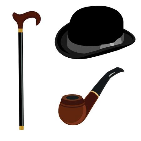bowler hat: Black gentleman bowler hat, brown smoking pipe and walking stick  raster set