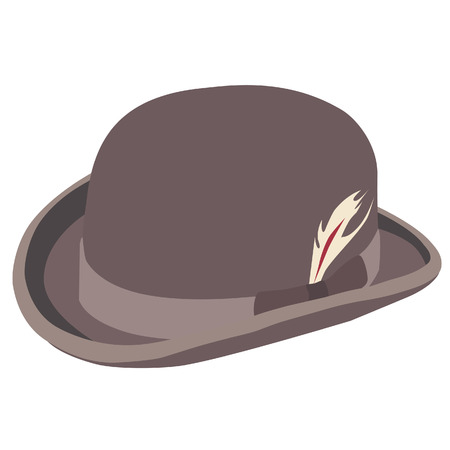 hat with feather: Brown bowler hat with feather raster isolated, gentlemen hat, vintage hat Stock Photo