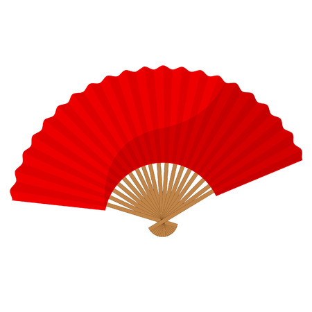hand fan: Red chinese folding hand fan raster isolated on white
