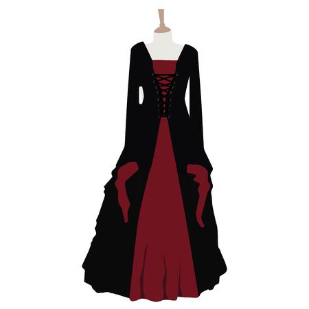 Schwarz rotes gothic kleid