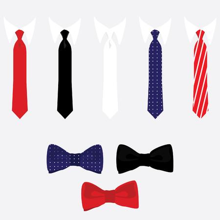 noeud papillon: raster icon set cravate et noeud papillon. Collection de cravate de couleur différente. Liens classiques rouge, noir, blanc, bleu,