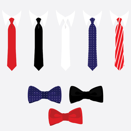black tie: raster icon set tie and bow tie. Different color neck tie collection. Classical ties red, black, white, blue,