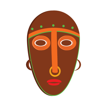 tiki head: Vector illustration african mask. Tribal mask icon. Totem mask