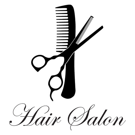 Vector illustration of crossed black silhouette of comb and scissors ideal for logo hair salon, firm or company