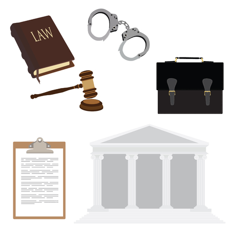 courthouse: Vector illustration of law symbols with handcuffs, briefcase, law book, hammer and courthouse. Legal, law, justice icon set Illustration