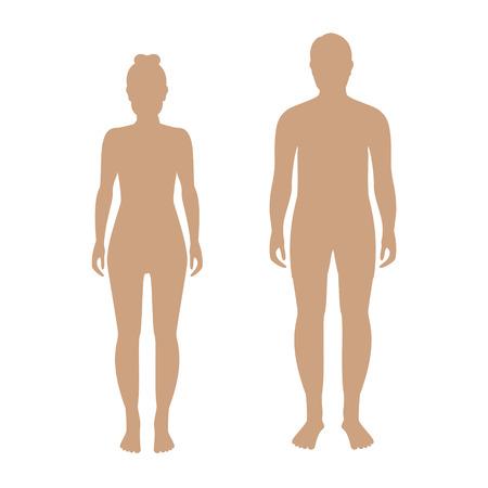 modelos desnudas: Ilustración del vector de siluetas de pie del hombre y de la mujer de color beige. hombre y mujer los iconos humanos. masculinas y femeninas siluetas