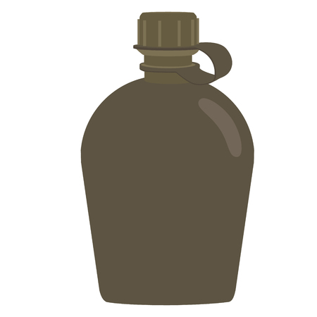 cantine: Army water canteen icon. Vector illustration of military canteen or flask. Jar of water use in the campaign.