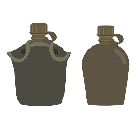 cartoon bottle: Army water canteen icon with case and without. Vector illustration of two military canteens or flasks. Jar of water use in the campaign.