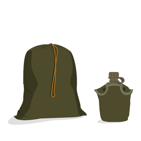 cantine: Vector illustration of military bag and army water canteen with case. Military sack with string